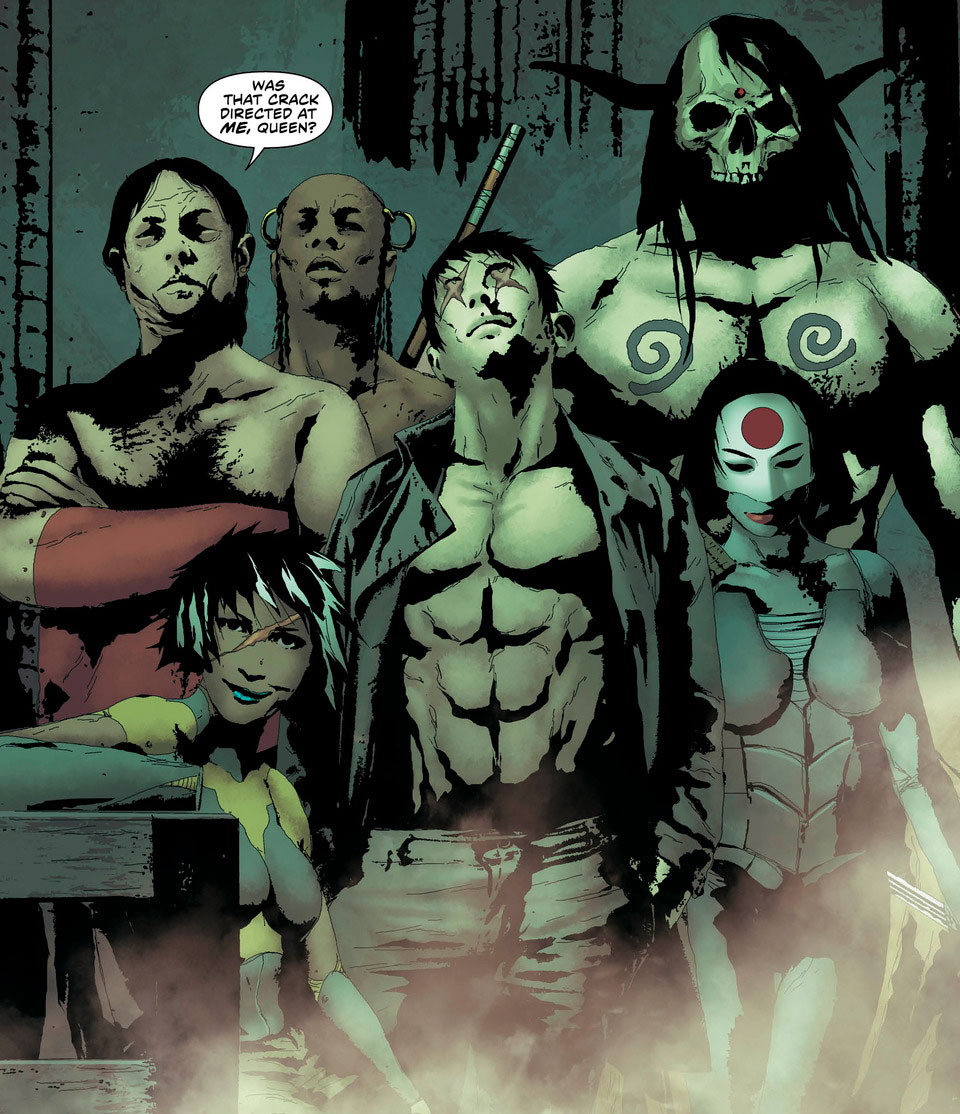 The Outsiders: Onyx, Butcher, Magus, Katana, Kodiak, and the unnamed leader of the spear clan