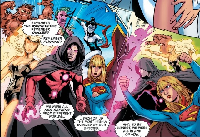 The Wanderers: Quiller, Photine, Captain Comet, Supergirl, Elvith, and Ornitho.