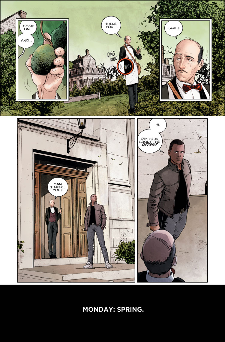 Batman: Rebirth #1, page 1 by Mikel Janin.