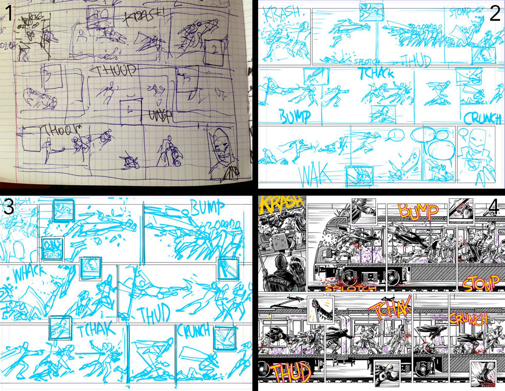 Process art in four parts by Fernando Blanco.